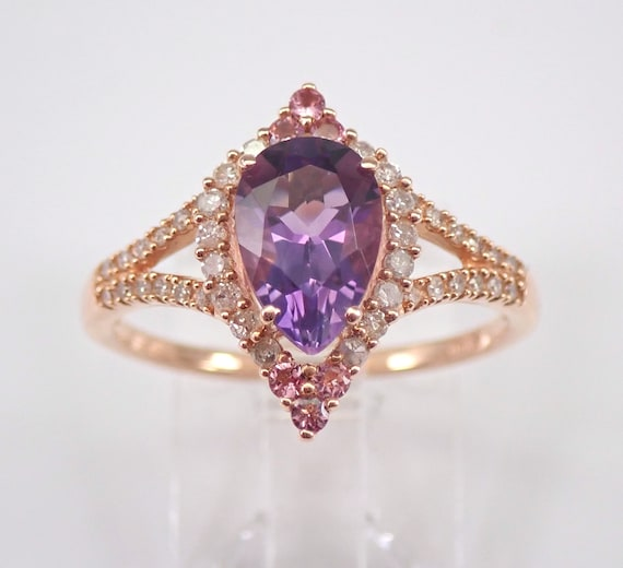 Amethyst Pink Tourmaline Diamond Halo Engagement Ring 14K Rose Gold Size 7.25 February Birthstone FREE Sizing