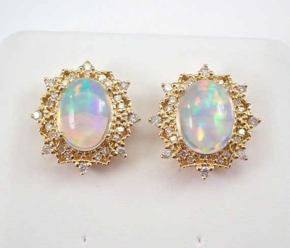 Opal and Diamond Halo Stud Earrings Yellow Gold October Birthstone Multi Color