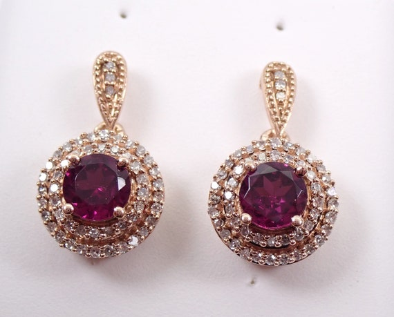 Rhodolite Garnet and Diamond Halo Drop Earrings Rose Gold January Gemstone