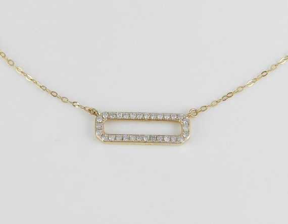 "Diamond Bar Necklace Cluster Pendant Yellow Gold Wedding Gift Chain 18"" Modern"
