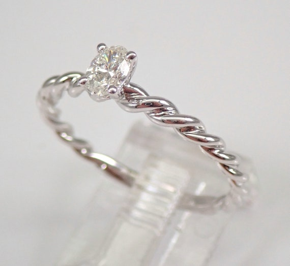 Oval SOLITAIRE Diamond Engagement Ring 14K White Gold Size 8 Braided Band FREE SIZING