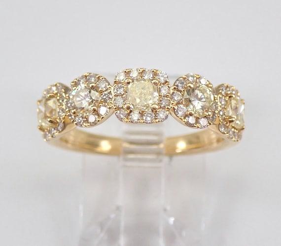 Fancy Yellow Canary Diamond Wedding Ring Halo Anniversary Band 18K Yellow Gold Size 6.75 FREE Sizing