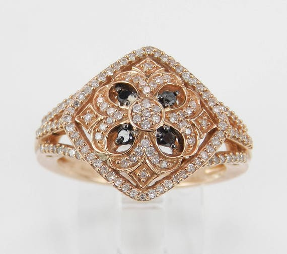 White and Black Diamond Cluster Cocktail Ring Rose Gold Size 6.75 Unique Style Modern Fashion Ring FREE Sizing