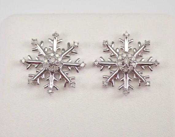 White Gold Diamond SNOWFLAKE Stud Earrings Cluster Studs Wedding Gift