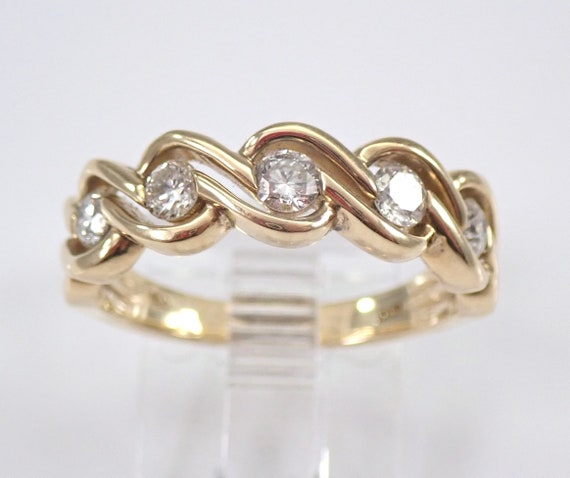 Diamond Wedding Ring Anniversary Band Yellow Gold Stackable 1/2 ct Size 7