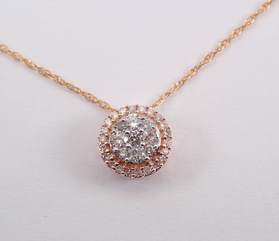 Rose and White Gold Diamond Cluster Halo Pendant Wedding Necklace Chain 18""