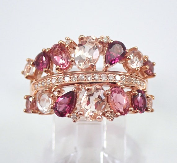 Rose Gold Diamond, Pink Tourmaline, Garnet and Morganite Anniversary Ring Wedding Band Size 7