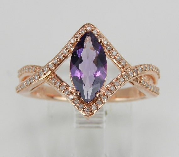 1.25 ct Diamond and Amethyst Engagement Promise Ring Size 7 Rose Pink Gold