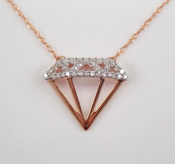 "Rose Gold Diamond Necklace 16.5"" Chain Engagement Ring Pendant Unique Gift"