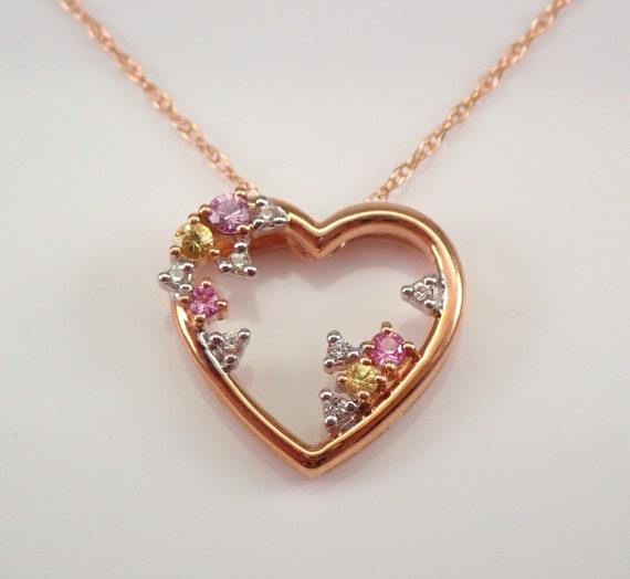 """Rose Gold Multi Color Sapphire Open Heart Pendant Necklace 18"""" Chain Pink Yellow"""