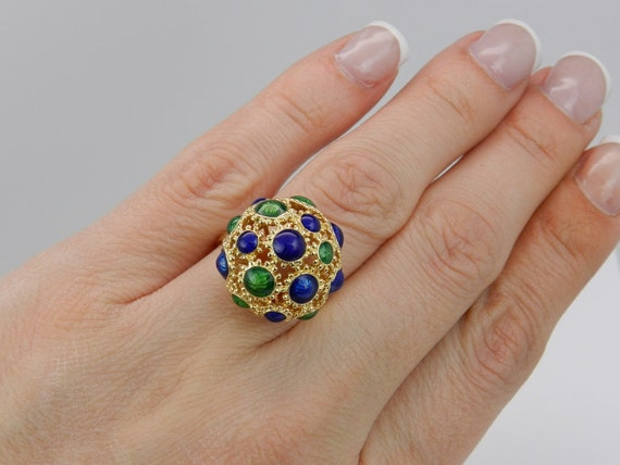 Antique Enamel Ring, Vintage Dome Ring, Blue and Green Enamel, Vintage Ring, 18K Yellow Gold Estate Ring, Rare Heirloom Ring