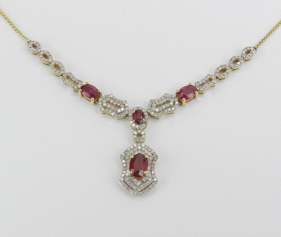 """14K Yellow Gold Ruby and Diamond Drop Halo Necklace 17"""" Chain July Birthstone"""