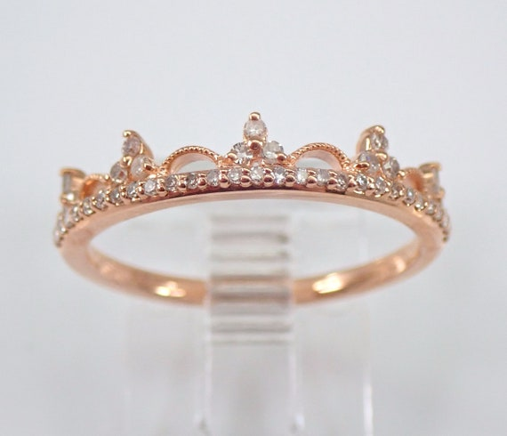 Rose Gold Diamond Crown Ring Stackable Tiara Band King Queen Royal Gift Size 7