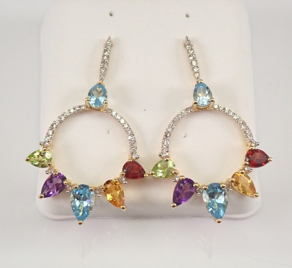 14K Yellow Gold Diamond and Multi Color Gemstone Dangle Earrings Gypsy Style
