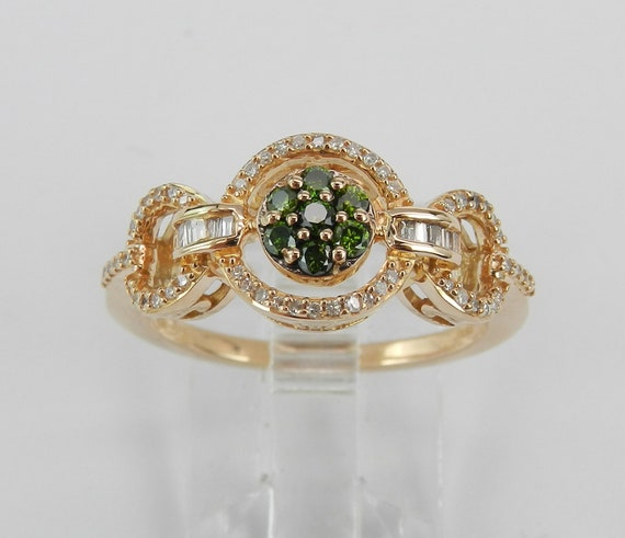 White and Green Diamond Cluster Cocktail Ring Wedding Band Rose Gold Size 6.75