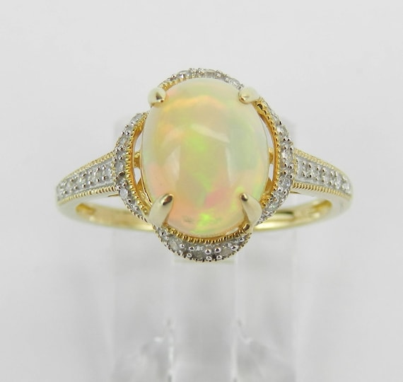 Diamond and Opal Ring, Diamond Halo Engagement Ring, Yellow Gold Opal Ring, Size 7.25, October Gemstone