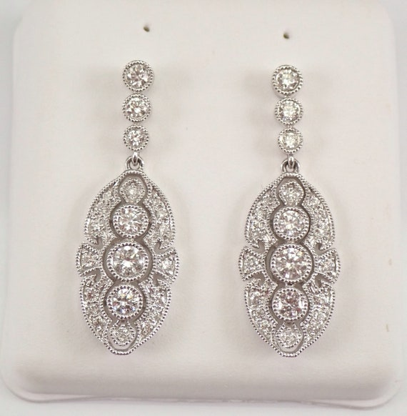 Vintage Antique Reproduction 18K White Gold Diamond Dangle Earrings PERFECT GIFT