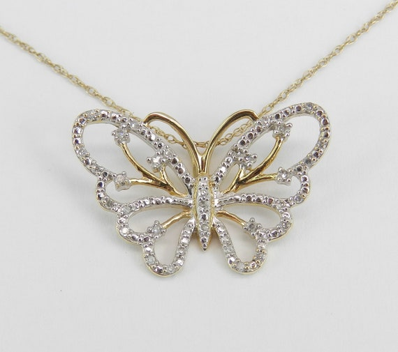 """14K Yellow Gold Diamond Butterfly Pendant Necklace 18"""" Chain Wedding Gift"""