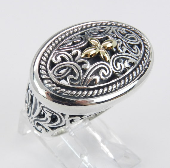 REDUCED Oval Sterling Silver 18K Yellow Gold Large Ladies Filigree Ring Cross Design