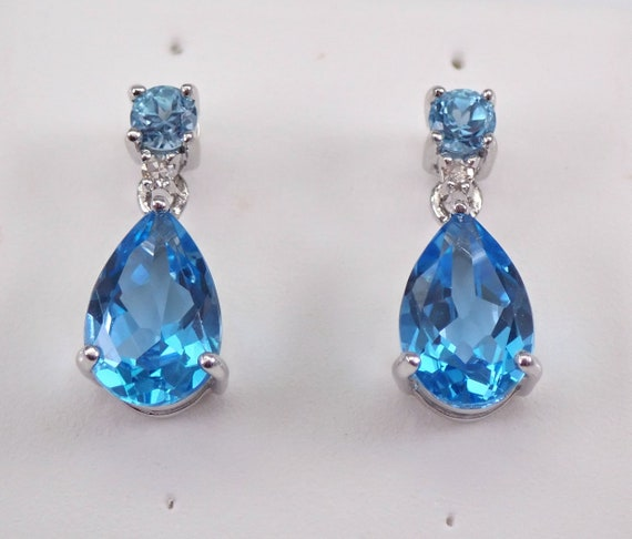 White Gold Blue Topaz and Diamond Dangle Teardrop Earrings Wedding December Gift