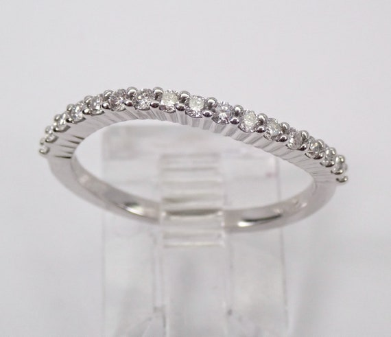 Diamond Wedding Ring Curved Contour Anniversary Band White Gold Size 6.75