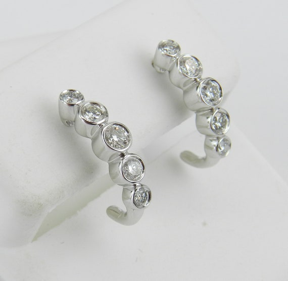 Bezel Set Diamond Half Hoop Earrings White Gold Graduation Gift Modern Design