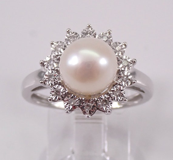 Pearl and Diamond Halo Engagement Ring White Gold June Birthstone Gem Size 7