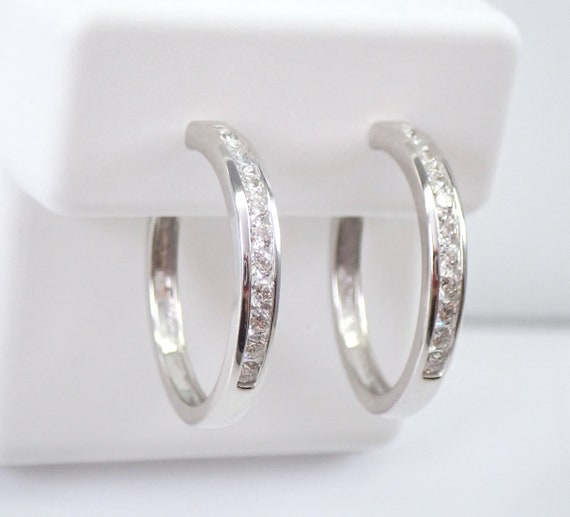 White Gold 1/2 ct Diamond Hoop Earrings Diamond Hoops Huggies Gift Modern Design