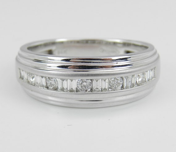 Mens Baguette and Round Diamond Wedding Ring Anniversary Band White Gold Size 10