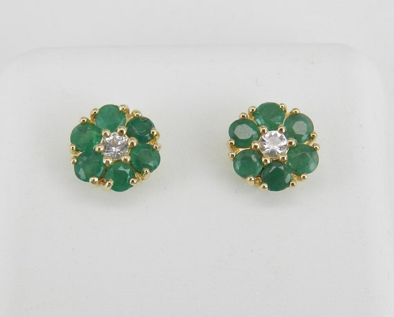 Emerald and White Sapphire Stud Earrings Flower Wedding Studs Yellow Gold May Birthstone