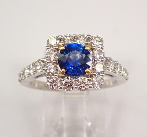 14K White Gold Diamond and Sapphire Halo Engagement Ring Size 7.25 September Birthstone FREE Sizing