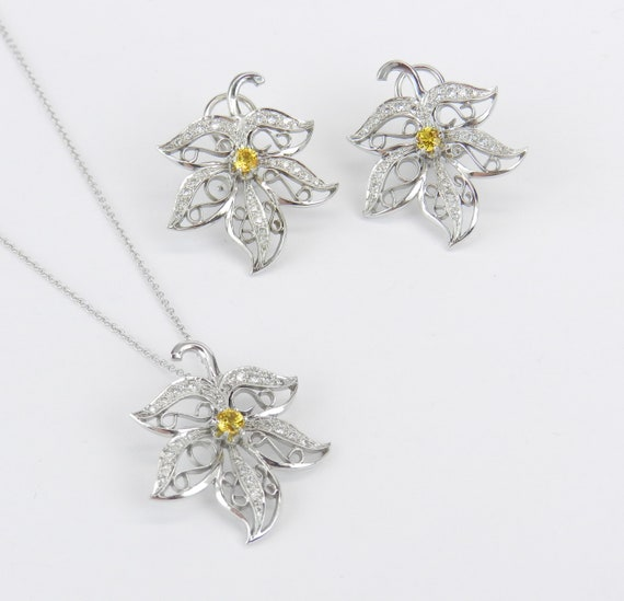 14K White Gold Diamond and Yellow Sapphire Pendant Necklace Earrings Set Unique Leaf Filigree