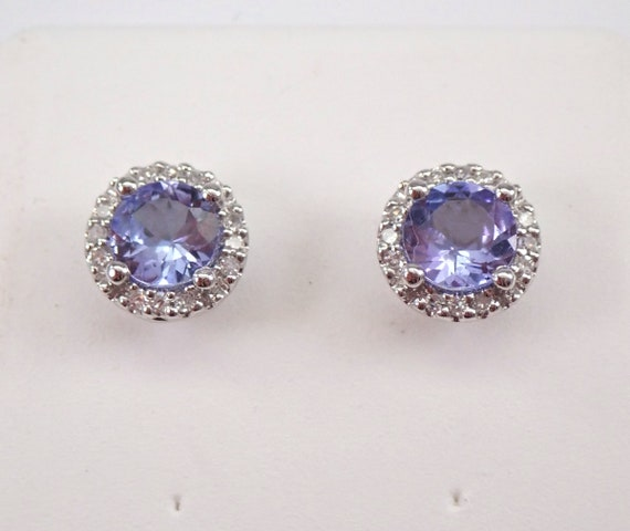 Tanzanite and Diamond Stud Earrings Halo Studs White Gold December Birthstone