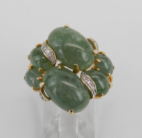 Jade and Diamond Ring, 14K Yellow Gold Jade Ring, Jade Cluster Ring, Jade Cocktail Ring, Green Jade Ring, Size 8