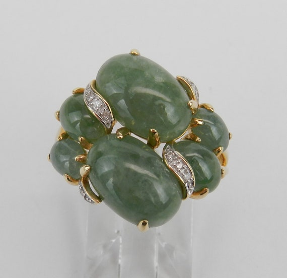 Jade and Diamond Ring, 14K Yellow Gold Jade Ring, Jade Cluster Ring, Jade Cocktail Ring, Green Jade Ring, Size 8 FREE Sizing