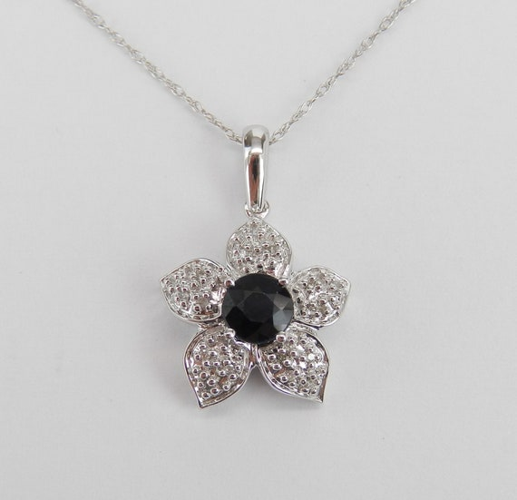 "SALE PRICE! Diamond and Sapphire Flower Pendant Necklace 14K White Gold 18"" Chain Wedding Gift September Birthstone"