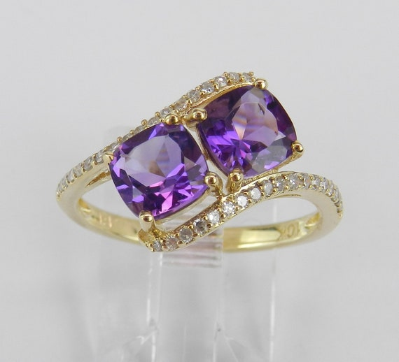 Two Stone Cushion Cut Amethyst and Diamond Promise Ring Yellow Gold Size 7 February Birthstone Gem