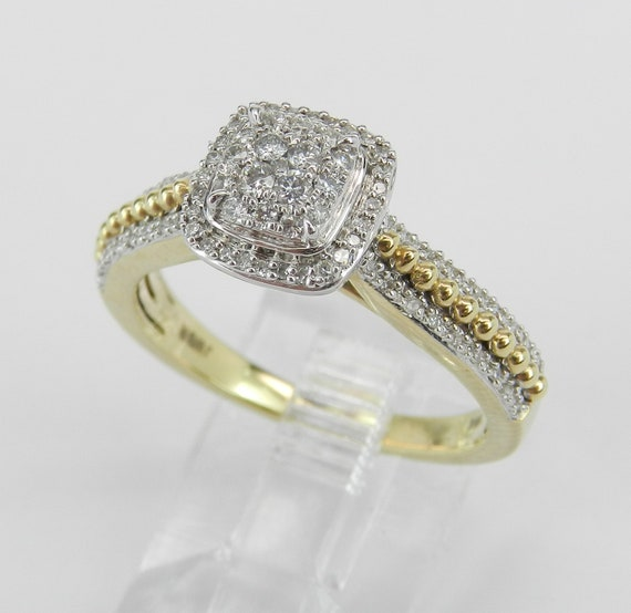 Yellow Gold Diamond Engagement Ring Cluster Cocktail Size 7 FREE Sizing