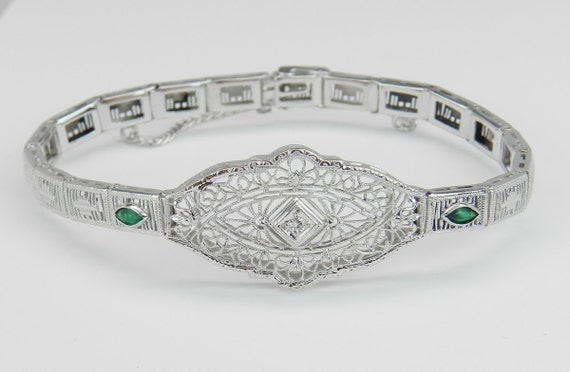 Antique Bracelet Art Deco Bracelet Diamond and Green Emerald Filigree Bracelet  14k White Gold 1920's