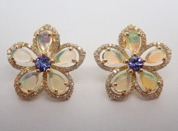 Opal Tanzanite Diamond Cluster Stud Flower Earrings Unique October December April Birthstone