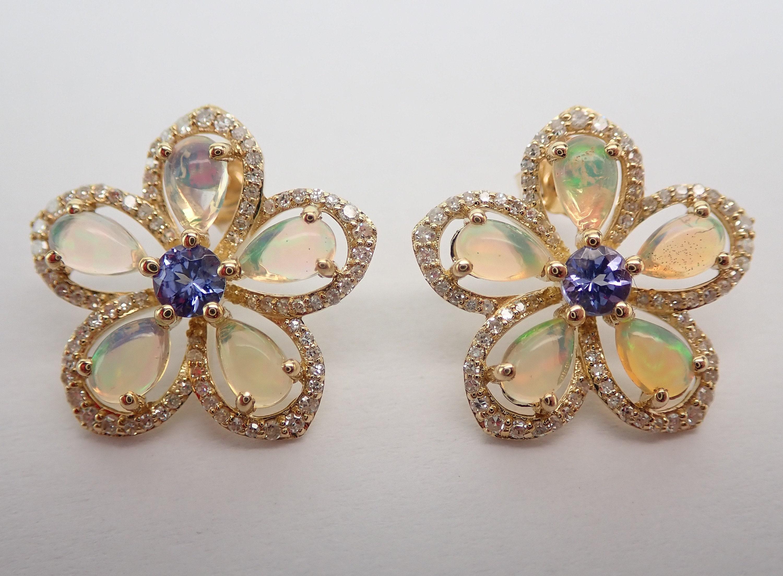 8f385a652 Opal Tanzanite Diamond Cluster Stud Flower Earrings Unique ...