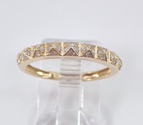 Diamond Wedding Ring Anniversary Band 14K Yellow Gold Sizable Size 7 Stackable