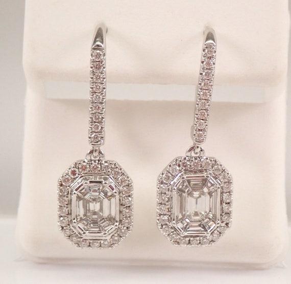 14K White Gold 1.50 ct Diamond Cluster Halo Drop Dangle Emerald Cut Earrings
