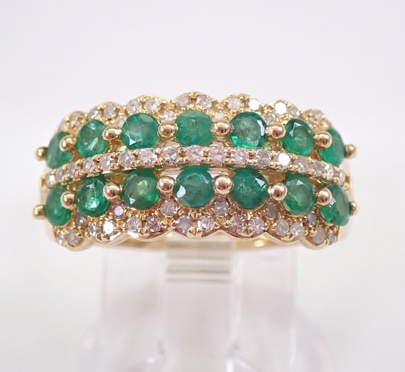 Yellow Gold Diamond and Emerald Anniversary Band Wedding Ring Size 6.75 May Gemstone FREE Sizing