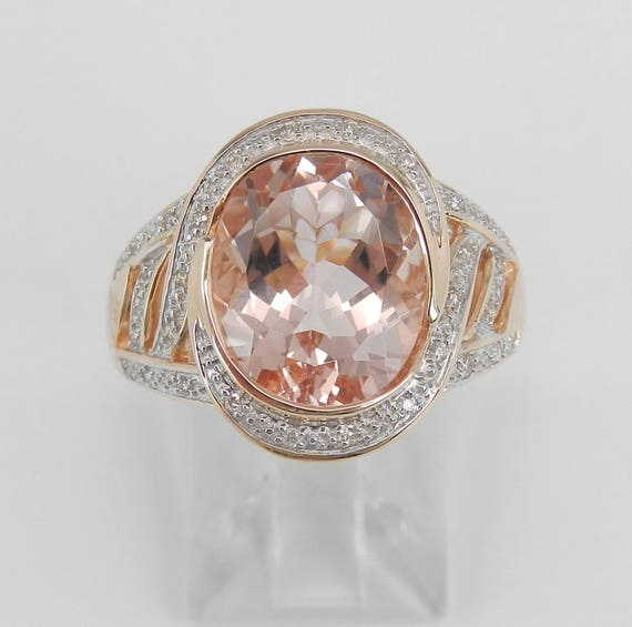 Unique 3.65 ct Morganite and Diamond Halo Engagement Ring 14K Rose Gold Size 7
