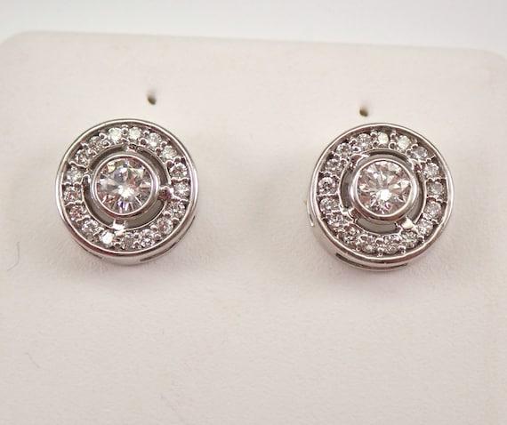 14K White Gold Diamond Stud Earrings Halo Studs PERFECT Birthday GIFT