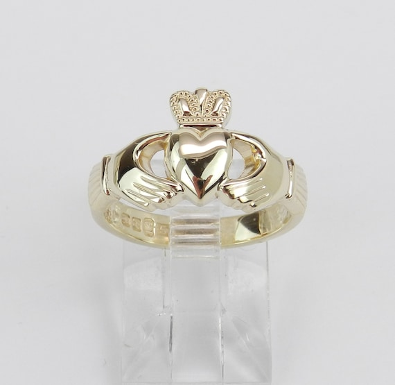 14K Yellow Gold Claddagh Ring, Gold Heart Design, Irish Wedding Band, Gold Crown Ring, Solid Gold Ring