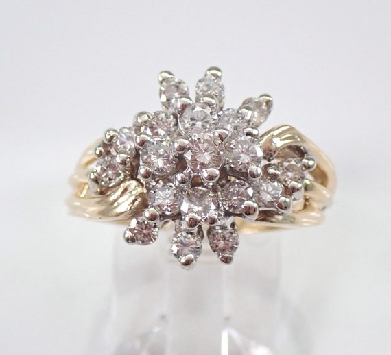 Antique Vintage 14K Yellow Gold .90 ct Diamond Cluster Ring Size 7.25 FREE SIZING