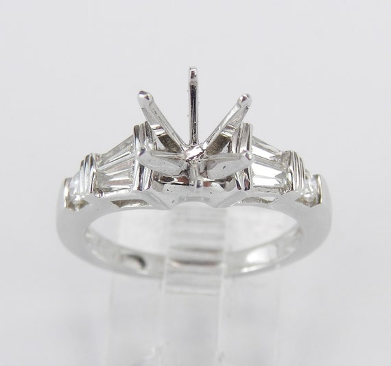 18K White Gold Diamond Engagement Ring Setting Semi Mount Mounting