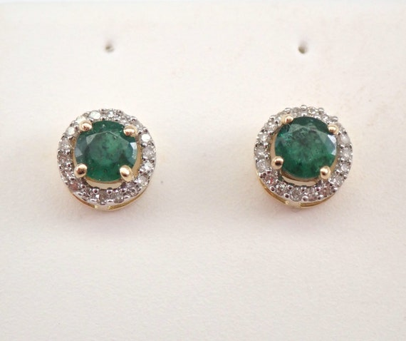 Emerald and Diamond Stud Earrings Halo Studs Yellow Gold May Birthstone